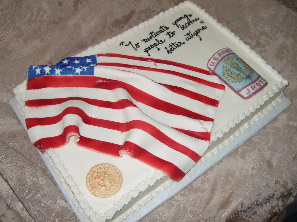 ROTC Cake with American Flag  This 12x18 white cake with wh  Flickr