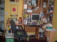 my formerly cluttered desk   My poor desk actually looked ...