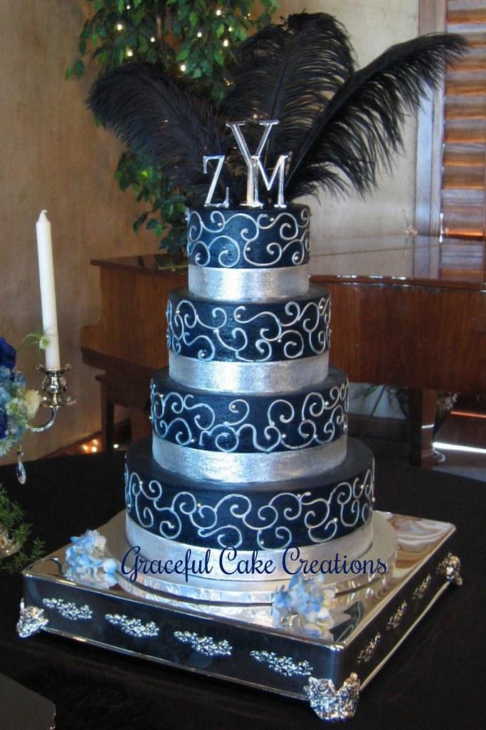 Blue And Silver Wedding Cake Wedding Cake Grace Tari