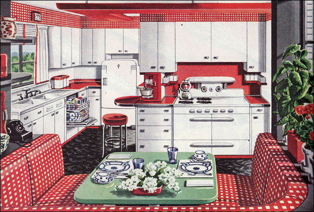 red and white vintage kitchen 1946 American Gas Assn - Alcove Kitchen | Red and white