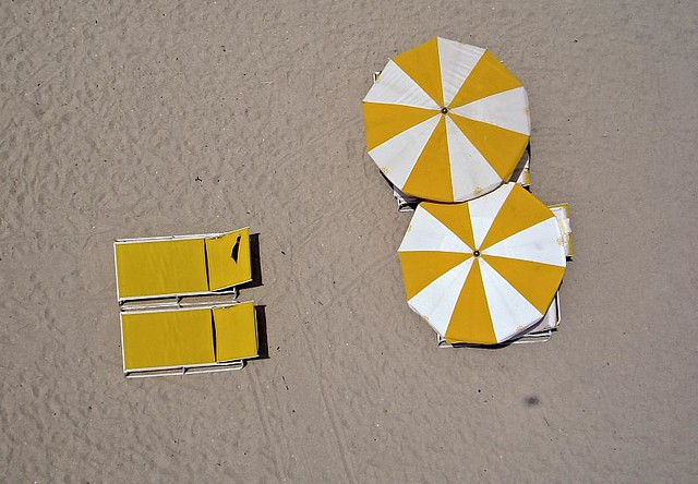 Beach Umbrellas and Lounge Chairs  Aerial top down shot