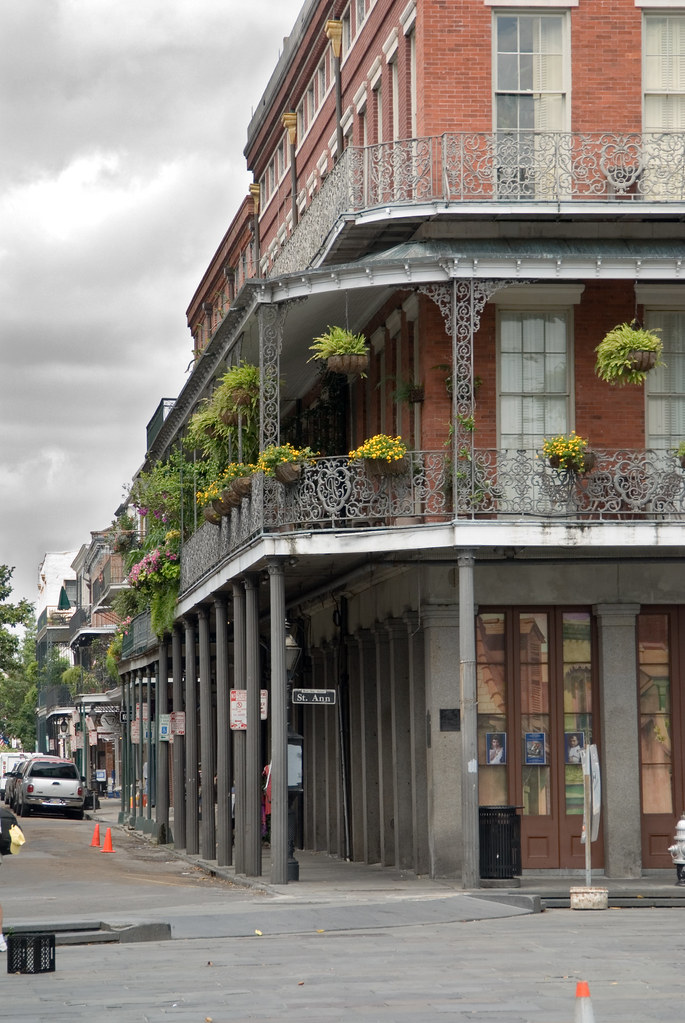 New Orleans Balcony Rue St Ann  The balconies of New