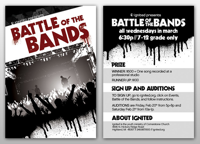 Battle of the Bands  A student ministry flyer for a