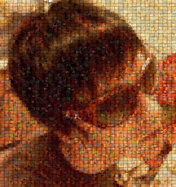 "Dj In Sunglasses - Fractal Mosaic Portrait Red """