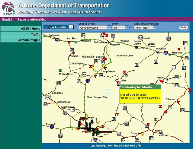 Arizona Highway Conditions Map Checking the state