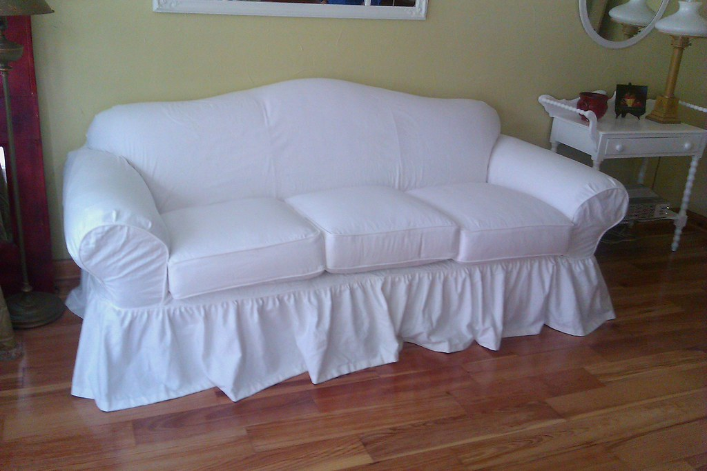 Shabby Chic Slipcover  A classic curvy sofa is given the