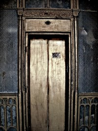an old elevator door