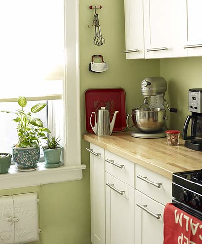 Green Kitchen White Cabinets Red Accents Sweet Carol