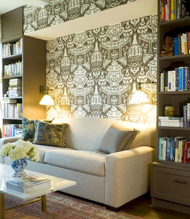 Ideas for small spaces Graphic modern wallpaper  painted