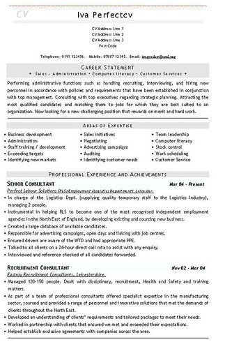 Recruitment Consultant CV Template CVs And Resume