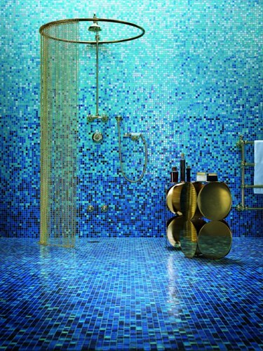 Blue Mosaic Tile Shading Blend  Bisazzas Gladiolo glass