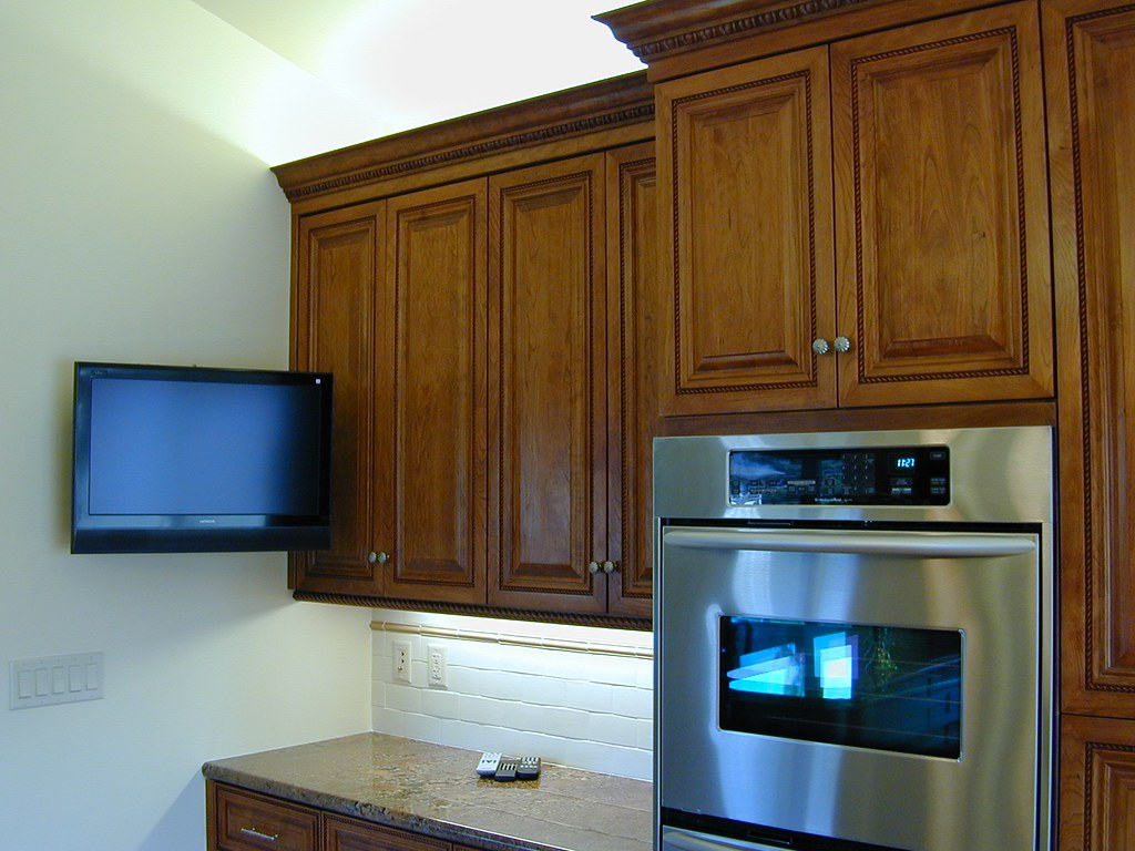 small flat screen tv for kitchen ladders and stools new custom wall mounted double ov