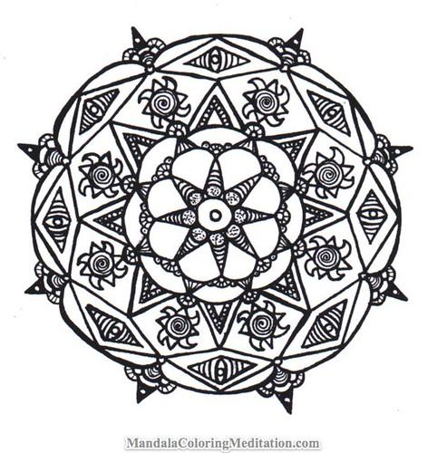 Mandala Coloring Page: A handmade black & white mandala