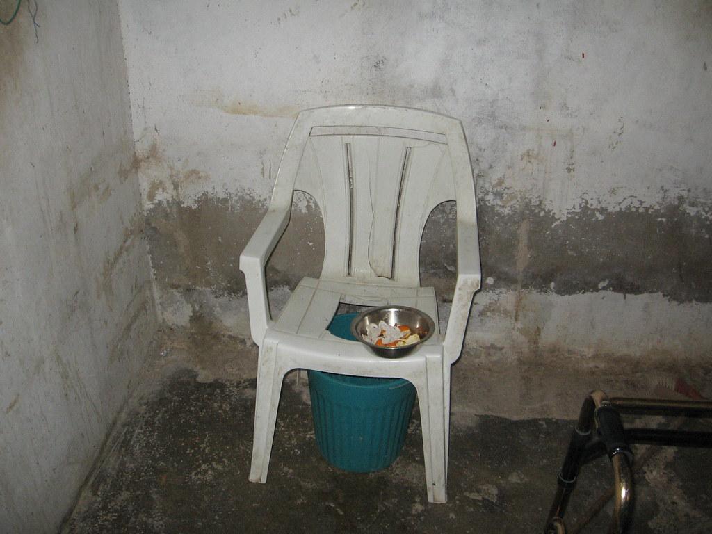 Improvised toilet due to lack of indoor plumbing in Gaza r