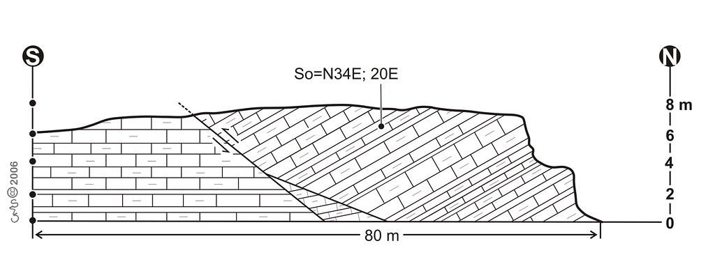 Geological cross section of the Mem Moniz Miocene outcrop