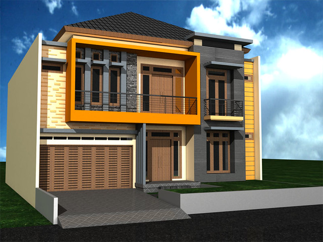 Tampak Depan Rumah Minimalis 2 Lantai di Pondok Kelapa