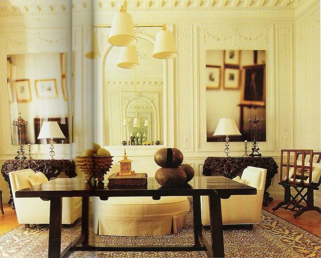 Living Room White Brick Fireplace