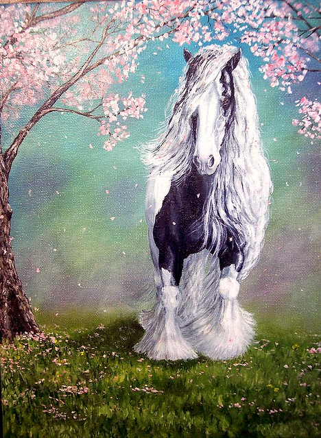 3d All Animal Wallpaper Quot Cheery Blossom Vanner Quot Gypsy Cob Horse Painting The