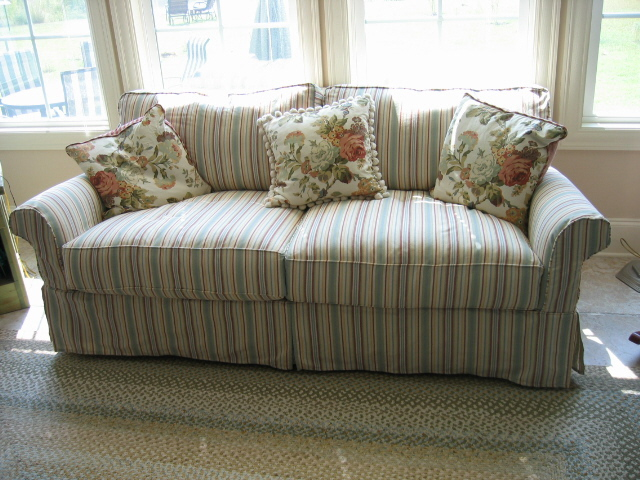 photo of living room design pictures traditional designs striped sofa | a crisp cotton stripe gives cottage look ...