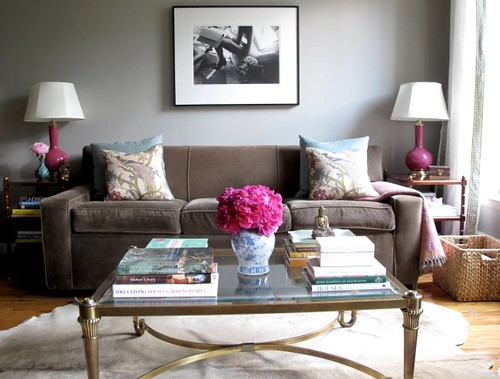 Real Homes Neutral living room  pink accents Modern fe