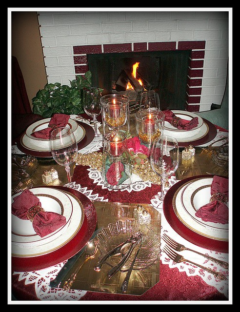Fireside Tablescape  Fireside dinner with burgundy gold