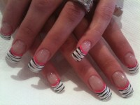 White tips with black zebra and pink flower nail art ...