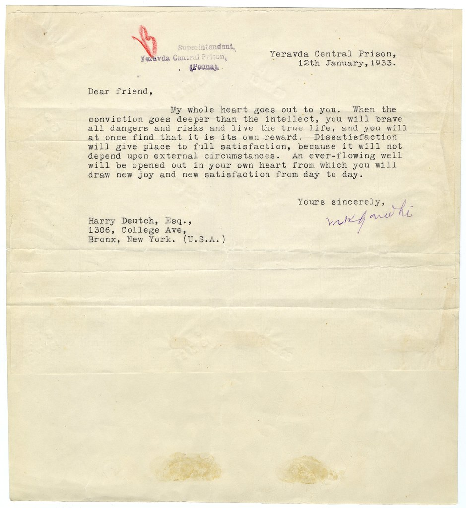 Letter From Mahatma Gandhi In Prison To Harry Deutch