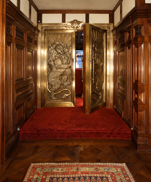 Home Theater Entrace Doors hung on bank vault hinges