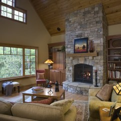 Living Room Fireplaces Pictures Decor Ideas Grey Walls Stone-fireplace-vaulted-ceiling | Acm Design Architects ...