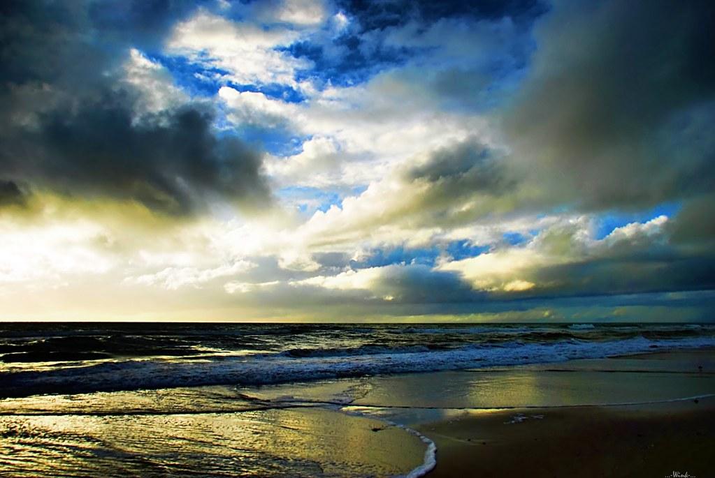 Land Sea and Sky  Big Clouds on BlackMagic Sky Beach