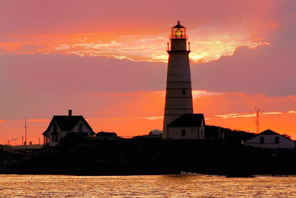 Boston Light at sunset  Boston Lighthouse in Boston
