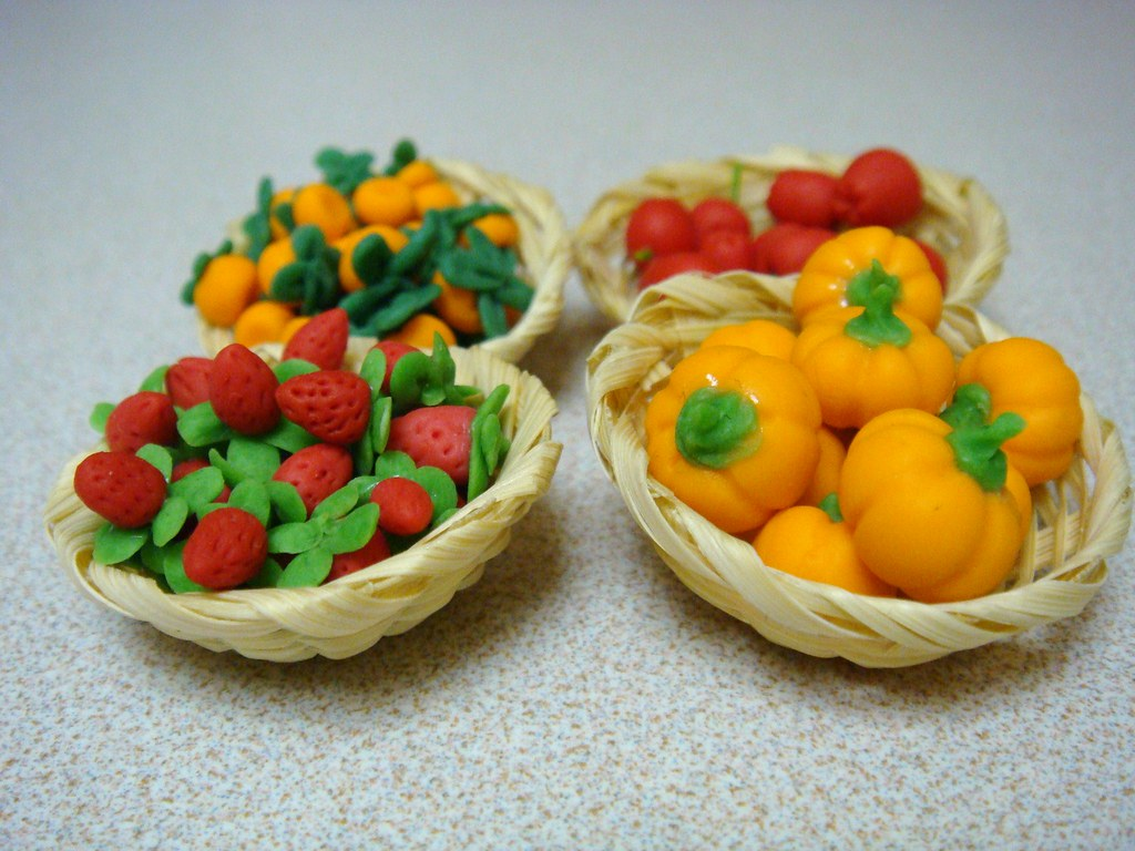 kitchen pan set remodeling ideas for kitchens dollhouse miniature - baskets of fruits and veggies   flickr