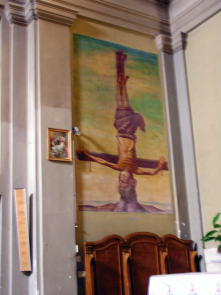 Icon of an upside down Crucifixion inside Church of Domine