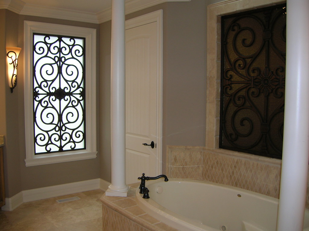 Faux Wrought Iron  Bathroom Window Insert  The