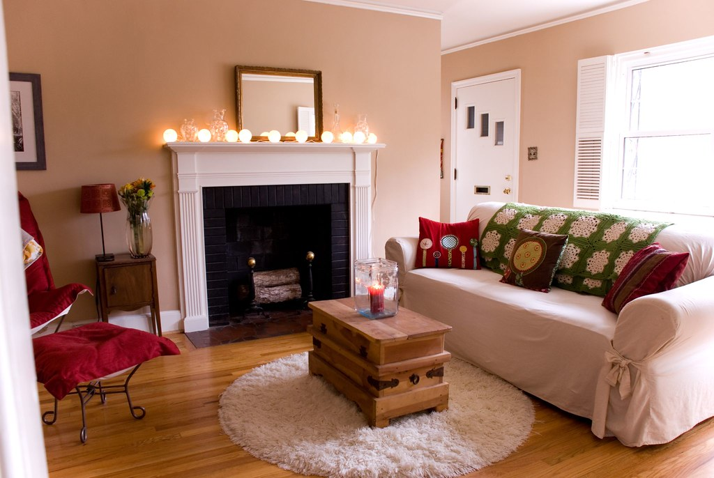 living room fireplace off centered table lamp 1 | thrifted, slip-covered couch; hand-made in ...