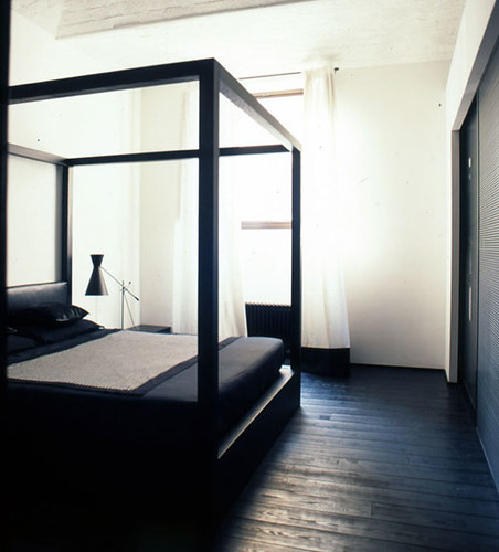 black floor white walls  by barch via style files I