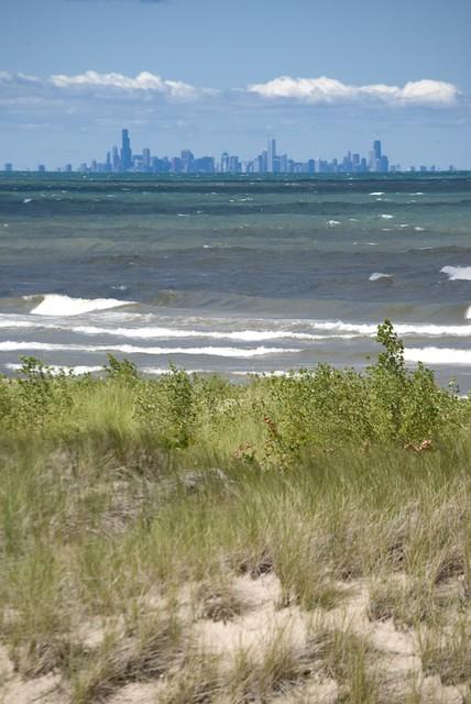 Miller Beach Indiana Dunes  Chicago skyline as seen