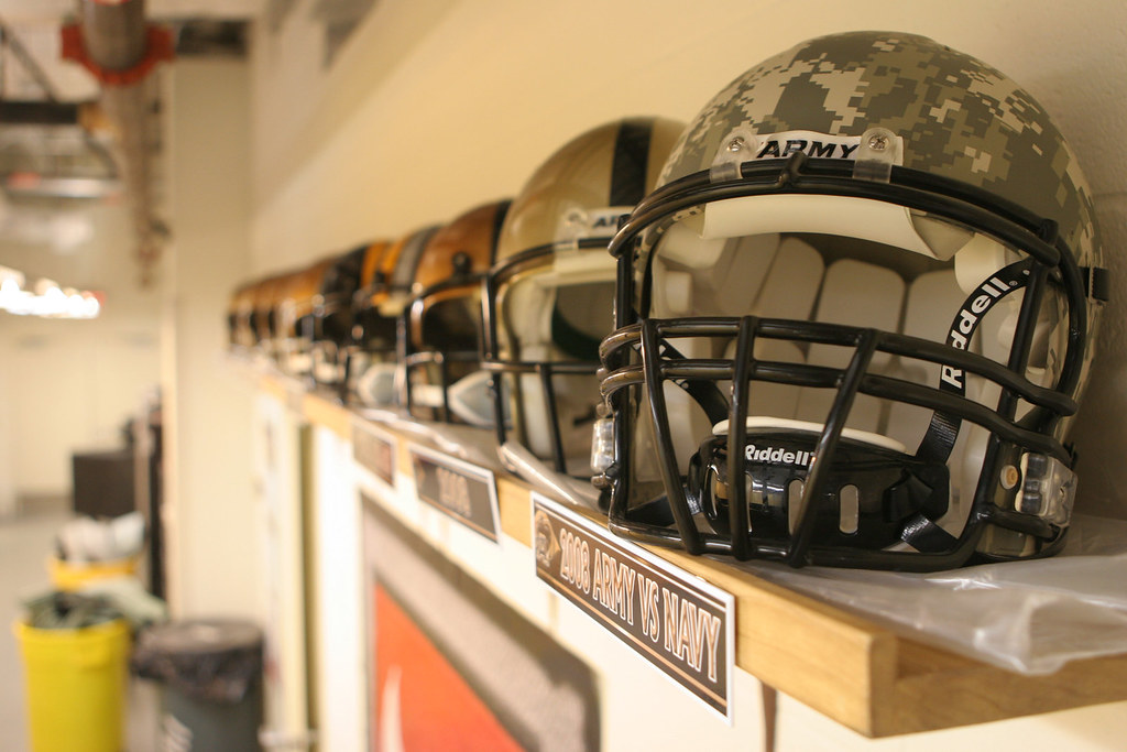 Through The Years  Football helmets worn by Army players