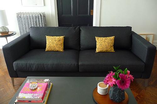 Ikea KARLSTAD sofa with Sivik dark gray slipcover and alum  Flickr