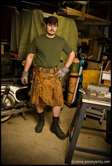 Steampunk Welders Kilt  Made from dual sided heavy