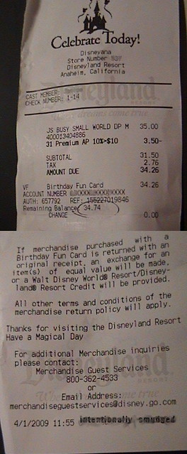 Disneyland® Birthday Fun Card Receipt