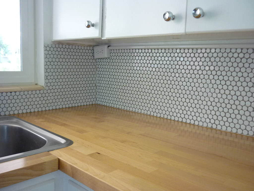 penny tile backsplash kitchen modern countertops pre grout it was tempting to use a grey