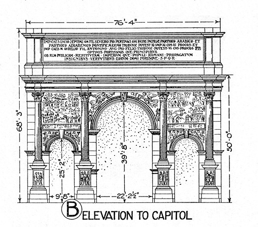 Arch of Septimus Severus possibly a reconstruction elevat