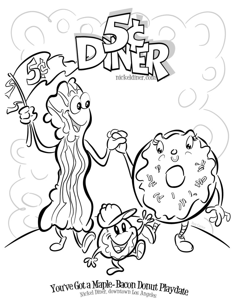 Nickel Diner's famous Maple-Bacon Donut (coloring book pag