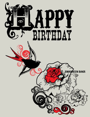 Stationary Design Birthday Card American Tattoo Styled