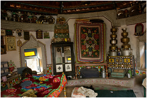 inside bhunga dhordo banni  circular living space in the