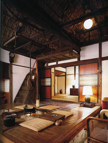 Interior of Japanese country house with central fire pit
