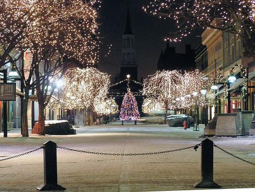 Christmas Tree Lights Church Street Burlington Vermont