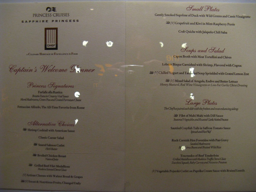 Sapphire Princess  Dinner menu outside the Santa Fe