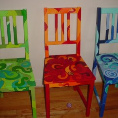 Hand Painted Wooden Chairs Low Profile Lawn Spring Fall And Winter Funky Flickr